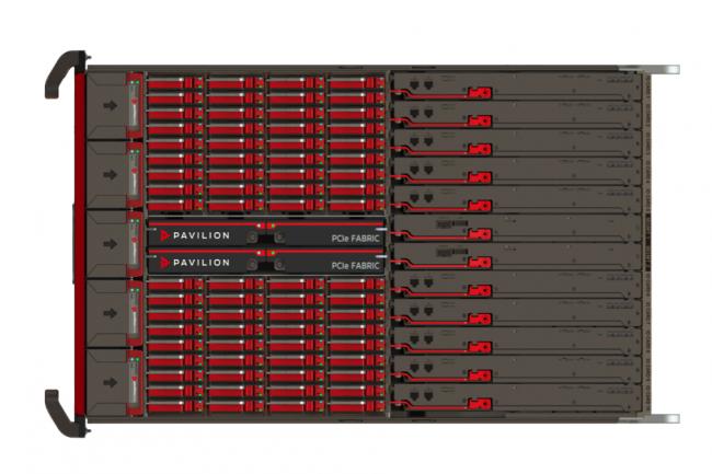 Pavillon Data propose des baies capable de conserver jusqu'à 1 Po, avec 18 à 72 SSD NVMe, dansun rack 4U, (crédit : Pavillon)