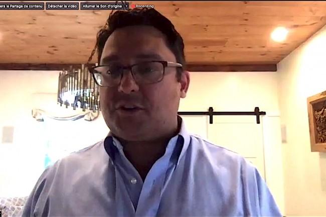 Simon Taylor, CEO de Hycu, lors d'un point presse virtuel sur Zoom en juin dernier. (Crédit D.R.)