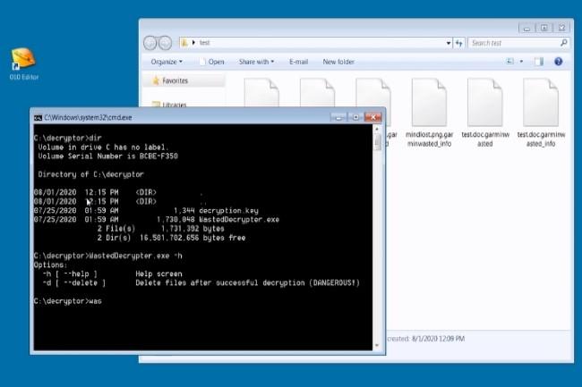 Garmin a récupéré un exécutable permettant de déchiffrer les fichiers et les machines infectés par WastedLocker. (Crédit Photo : Bleepingcomputer)