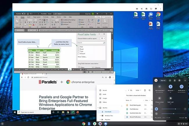Grâce à son partenariat avec Parallels, Google veut intégrer Windows à ses Chromebook en concervant Chrome OS comme système d'exploitation principal. (Crédit : Google)