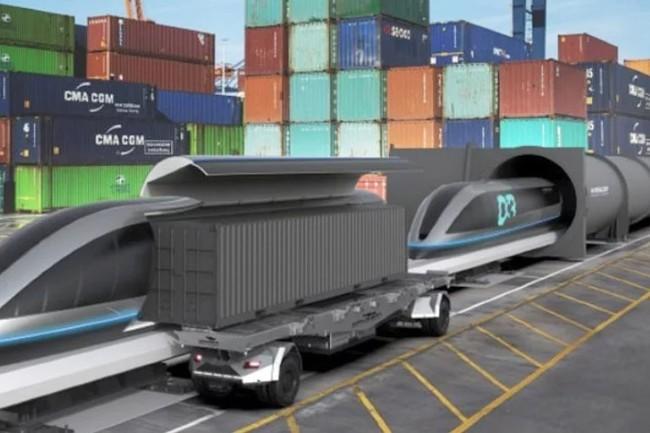 Gaussin et HTT collaborent sur un Hyperloop � la crois�e des v�hicules autonomes de transport de conteneurs du Fran�ais et du train � hypervitesse du Californien (Montage photo Gaussin)