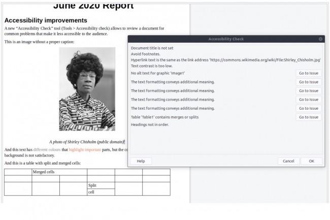 Unoutil de vérification de l'accessibilitédes documents a été ajouté (en mode expérimental) au traitement de texte Writer dans la version 7 de LibreOffice. (Crédit : The Document Foundation)