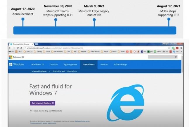 Microsoft vient de livrer le planning d'arrêt du support d'IE 11 sur un an. La 1ère version stable du navigateur web avait été livrée à l'automne 2013 pour Windows 8.1 et Windows 7. (Crédit : Microsoft)