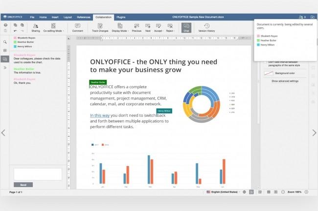 OnlyOffice Document Editor permet de collaborer autour d'un document et prend en charge les formats DOC, DOCX, ODT, TXT, PDF et HTML. (Cr�dit : OnlyOffice)
