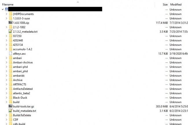 Parmi des fichiers Hortonworksouverts au téléchargement sur un bucket de stockage S3,UpGuard a repéré des fichiers intitulés «BuildsToDelete». (Crédit : UpGuard)