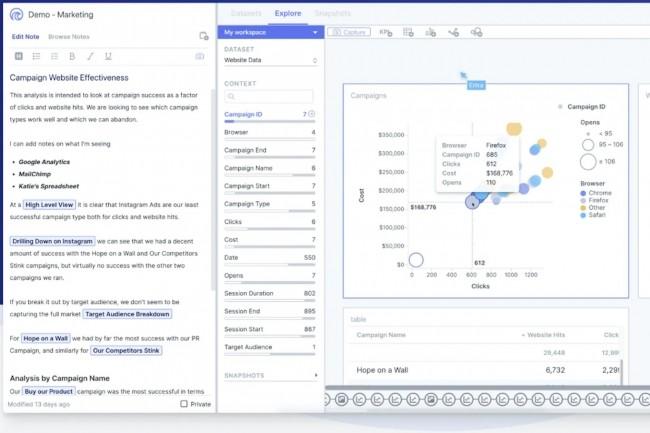 L'outil développé par Knarr Analytics (ci-dessus) facilite l'exploration des données en mode collaboratif. (Crédit : Knarr)