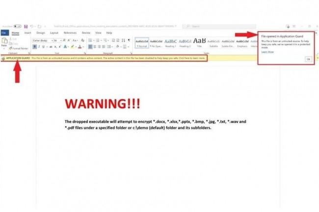 Contrairement au mode Protected View d'Office beaucoup plus ancien qui ouvre des documents potentiellement dangereux en lecture seule, les fichiers ouverts dans Application Guard pour Office peuvent être manipulés. (crédit : Microsoft)