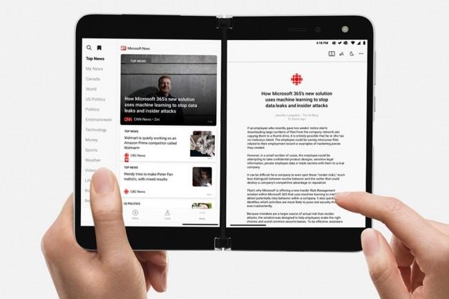 Le Surface Duo ressemble à un ordinateur portable robuste avec sa charnière. (Crédit Microsoft)