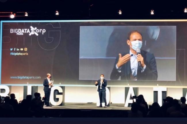 Cédric O, secrétaire d'Etat chargé du Numérique, s'est présenté masqué ce matin en ouverture de Big Data Paris 2020 pour respecter les consignes de sécurité sanitaire. (Crédit : fil Twitter Cédric O)