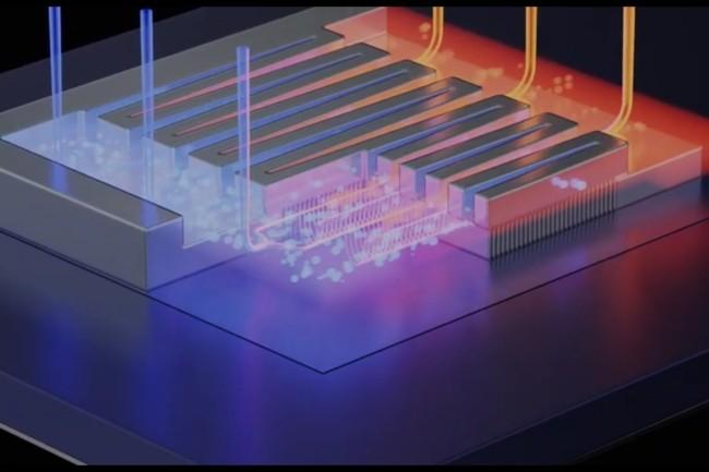 Des chercheurs suisses veulent optimiser l'extraction de chaleur des puces en intégrant du refroidissement par eau directement dans le processeur. (Crédit Photo : DR)