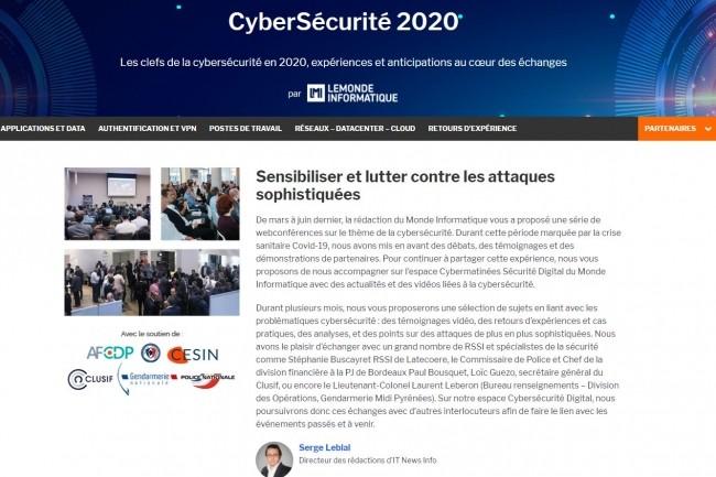 Retrouvez sur l'espace Cybermatinée Sécurité 2020 des articles de la rédaction ainsi que des contenus complémentaires de nos partenaires. (crédit : LMI)
