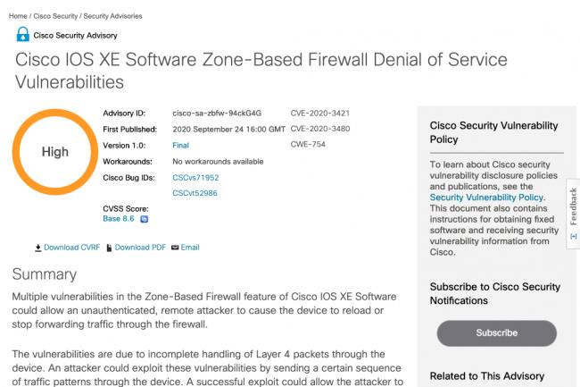 Cisco publie des correctifs de s�curit� pour 25 failles � haut risque pour IOS et IOS XE.