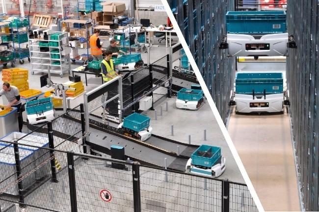 Les robots Skypod d'Exotec parcourent les entrepôts sur le sol, mais montent et descendent également le long des étagères. (Photo Exotec)