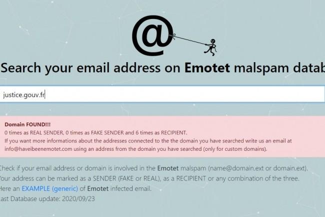 D'après le service en ligne Have I Been Emotet, le domaine justice.gouv.fr a été 6 fois destinataire d'un e-mail de spam Emotet. (crédit : TG Soft)