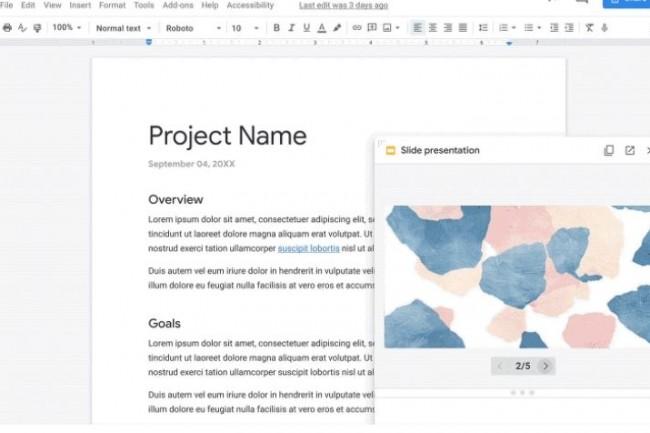 Google Workspace permet désormais de créer un document directement depuis un chat ou bien dans un appel video contenant une présentation. (crédit : Google)