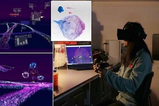 Depuis un casque de réalité virtuelle, les chercheurs peuvent silloner les méandres des cellules humaines. (Crédit Photo : Lume)