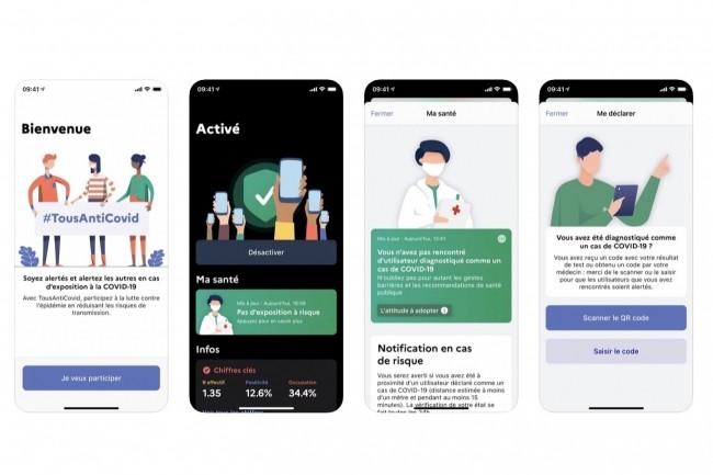 Selon une étude de l'Inserm, les applications de suivi des contacts telles que TousAntiCovidse révèleraient utiles à des niveaux d'utilisation atteignables, indique le ministère des Solidarités et de la Santé (ci-dessus, l'app pour iOS)
