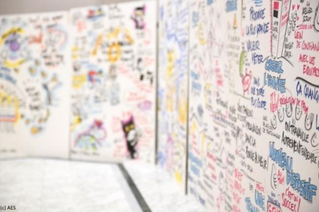 Agile en Seine aborde la culture Agile sous toutes les coutures, comme en témoignent ces dessins de Philippe-Elie Kassabi, facilitateur graphique, lors de l'édition 2019. (Crédit : AES)