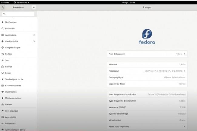 Les utilisateurs de Fedora ont eu tout loisir de tester la version 33 de la distribution Linux au cours de l'été.(Crédit photo : vidéo MonBureauLinux)