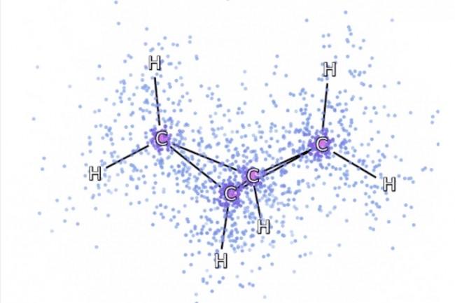 Parmi les exemples de simulation réalisés  à partir du réseau neuronal Fermionic de Deepmind, une illustration présente des électrons simulés tournant autour de la molécule bicyclobutane. (Crédit : DeepMind)