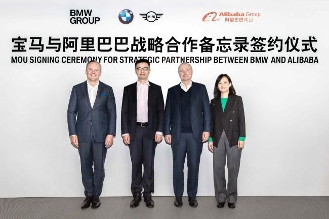 BMW et Alibaba ont signé un protocole d'accord pour collaborer sur l'expérience client du constructeur allemand (Photo des équipes dirigeantes BMW Chine et Alibaba. Alibaba DR)