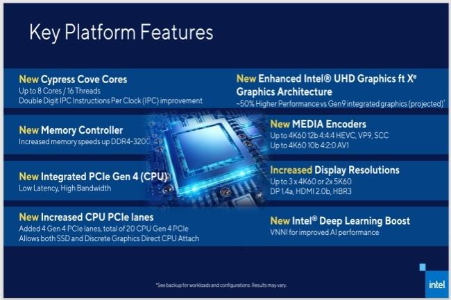 Intel confirme plusieurs apports des puces Rocket Lake pour les PC de bureau dont le PCIe 4.0. (Crédit Photo : Intel)