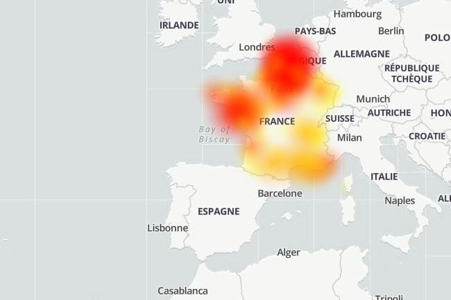 Plus de 1 500 problèmes de connexion ont été remontés sur Down Detector entre midi et 14h ce 2 novembre 2020 sur le réseau Free. (crédit : Down Detector)