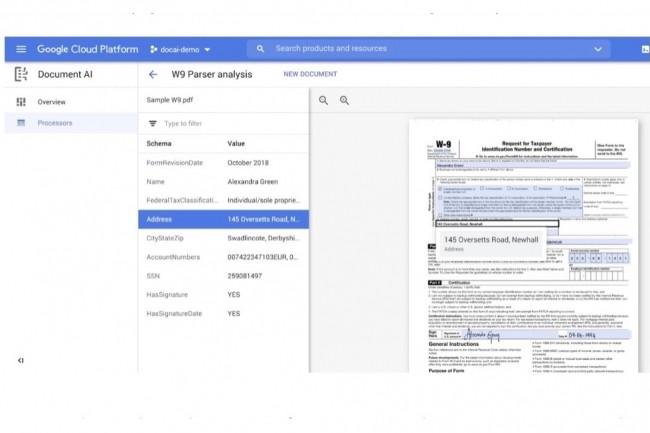 DocAI permet de créer des «document processors» pour extraire les données de différents catégories de documents. (Crédit : Google)