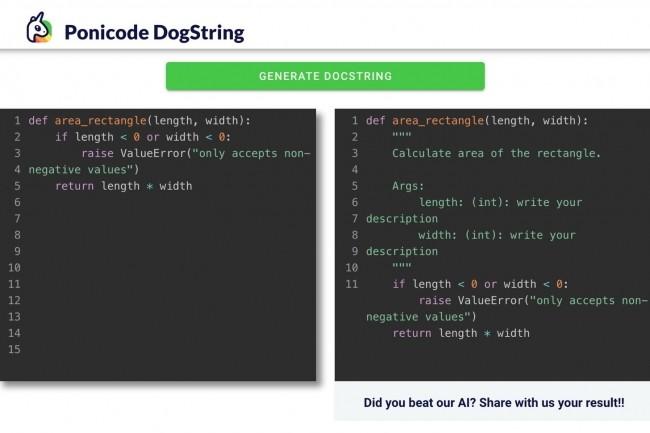 La version bêta Github Action Ponicode Dogstring peut être testée en ligne sur des portions de code. (Crédit : Ponicode)