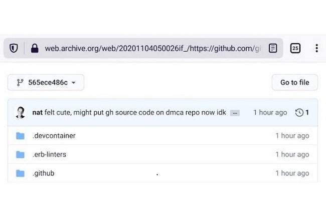 Le commit dévoilant le code source de GitHub a été publié (dépublié depuis) sur le dépôt DCMA avec la signature du CEO de GitHub. (Crédit Photo: DR)