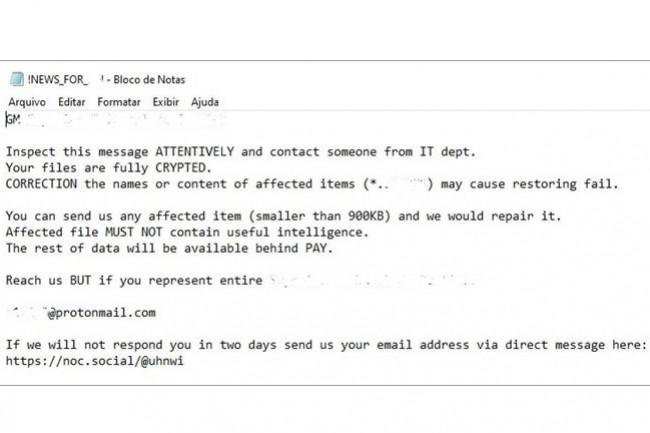 Note du ransomware RansomEXX des cyberpirates ayant visé la Cour de Justice brésilienne. (crédit : D.R.)