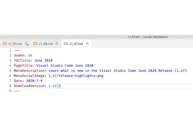La version 1.51 de Visual Studio Code apporte des nouveautés notamment sur les workbench. (Crédit Photo : Microsoft)