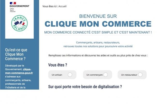 Région par région, clique-mon-commerce.gouv.fr donne accès à des solutions de référencement, de paiement en ligne, de communication, de site marchand ou de service de livraison. (Crédit : Gouvernement)