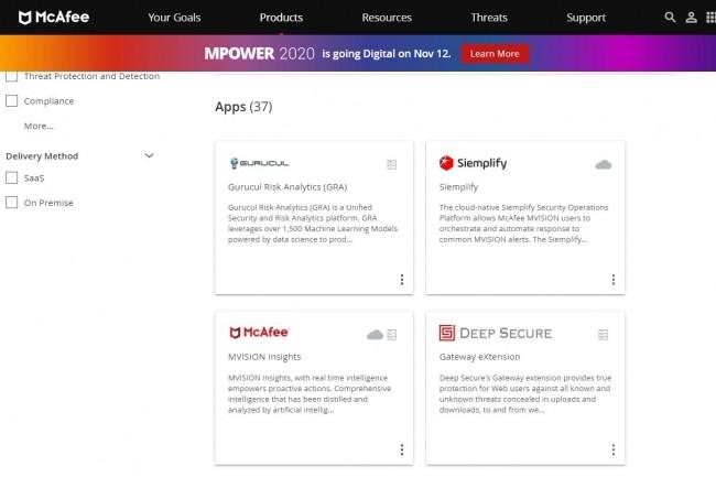La plateforme composable Mvision Marketplace comprend une protection des points d'extrémité, mais aussi du réseau, du cloud, des données et du SOC.