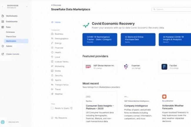 La Data Marketplace de Snowflake permet d'explorer et d'accéder aux données de plus de 100 fournisseurs sans avoir à les copier ni à les déplacer. (Crédit : Snowflake)