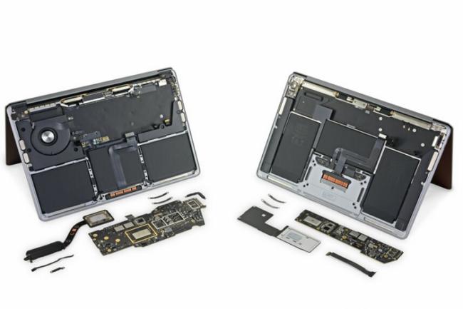 Les Macbook Pro 13 pouces et MacBook Air équipés de la puce M1 ressemblent à leurs prédécesseurs sur le plan de la réparabilité. (Crédit Photo : iFixit)
