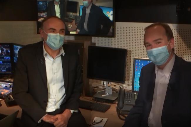 Dans la coulisse de l'émission web TV IT Tour 2020 Nouvelle Aquitaine, animée par Benoit Huet (journaliste LMI) à gauche et Dominique Filippone (chef des informations LMI). crédit : LMI