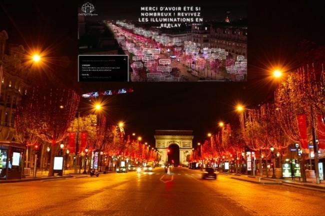 Ferrero associe des messages des réseaux sociaux avec les lumières de Noël des Champs-Elysées. (Photo Ferrero DR)