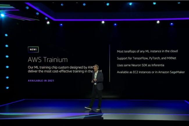 Parmi les annonces dévoilées par Andy Jassy, CEO d'AWS, le fournisseur travaille sur une puce nommée Trainium pour l'entraînement de l'IA. (Crédit Photo : DR)