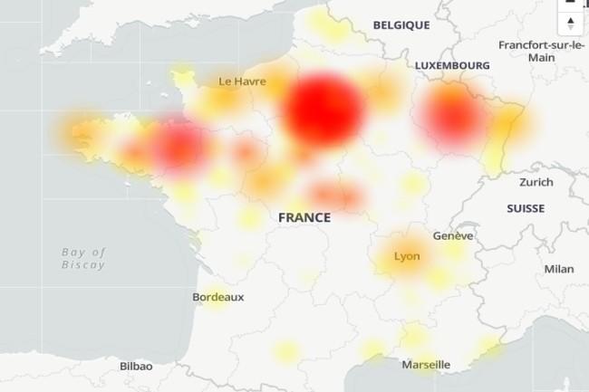 Depuis la fin de matinée, le réseau cellulaire de Bouygues Telecom a subi une panne importante. (Crédit Photo : DownDetector)