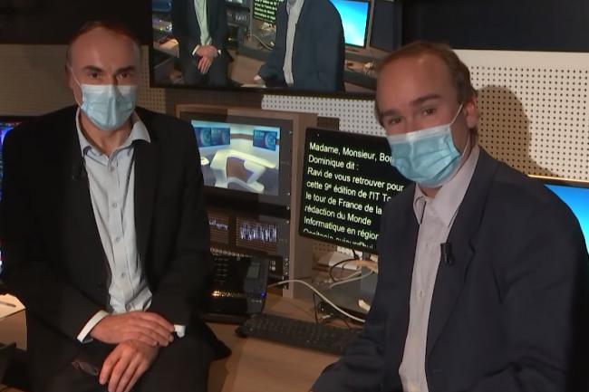 Dans la coulisse de l'émission web TV IT Tour 2020 Occitanie, animée par Benoit Huet (journaliste LMI) à gauche et Dominique Filippone (chef des informations LMI). crédit : LMI