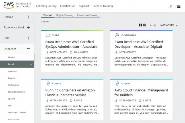 AWS dispense ses propres cours de préparation à la certification, mais il est possible de suivre des cours par l'intermédiaire de partenaires.