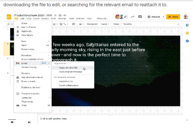 Il est possible maintenant d'éditer des pièces jointes de documents Office directement dans Gmail. (Crédit Photo : Google)