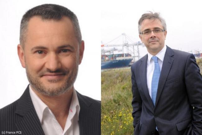 A gauche, Rémi Julien, Président du Directoire de MGI, à droite Hervé Cornède, Président du Directoire de Soget. Tous deux ont annoncé la création du GIE France PCS.