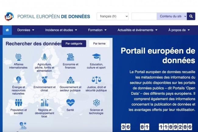 Le portail européen de données recueille les métadonnées des différents portails open data en Europe. (Crédit :https://www.europeandataportal.eu/)
