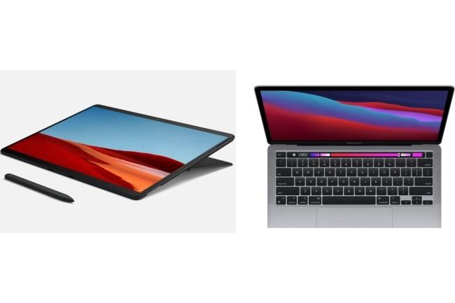 La bataille entre la Surface Pro X de Microsoft et le Macbook Air M1 d'Apple a tourn� clairement � l'avantage du second. (Cr�dit Photo: Apple et Microsoft)