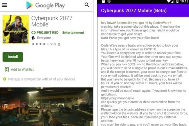 A défaut de Cyberpunk 2077, les joueurs se risquant à installer la version gratuite et piégée du jeu tombent sur le ransomware CoderWare. (crédit : D.R.)