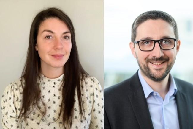 Estelle Molto (chargée de mission digital RH à l'AFD) et Romain Diot (chargé de recrutement à AFD) ont piloté le projet de chatbot RH au sein de l'agence française de développement. (crédit : D.R.)