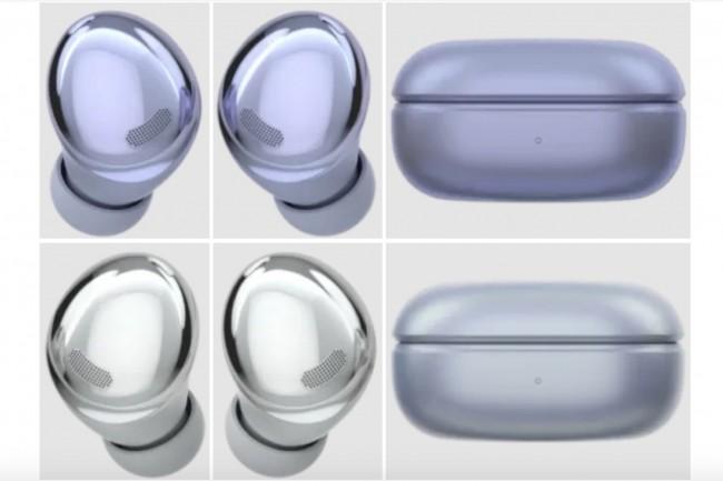 L'app de Samsung a dévoilé plusieurs rendus d'écouteurs Bud Pro pour le Galaxy S21, en trois couleurs : mauve, gris et noir. (Crédit : Samsung)
