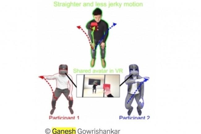 Dans des tests associant robotique et neurosciences, le LIRMM montre qu'un avatar virtuel a des actions plus efficaces que le duo de pilote qui l'actionne.(Crédit image : Ganesh Gowrishankar/CNRS)